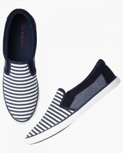 Men Navy & White Striped Shoes